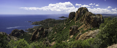 The Esterel massif, Cap Roux French riviera. Royalty Free Stock Images