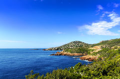 Esterel mountains and iles des Vieilles, Saint Raphael, France Stock Photos