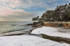 Esterel mountains under snow, france Royalty Free Stock Images