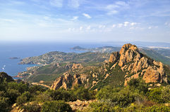 Esterel near Agay. Coastline near Saint Raphael in France Royalty Free Stock Images