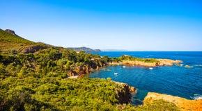 Esterel rocks beach coast and sea. Cote Azur, Provence, France. Stock Photos
