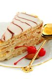 Esterhazy cake and red cherry. Royalty Free Stock Photo