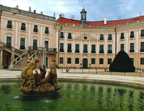 Esterhazy castle with fountain stock images