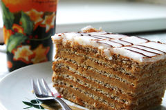 Esterhazyschnitte, german nut cream cake Royalty Free Stock Image