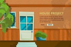 Esterno con la vista frontale della porta Fondo architettonico di vettore con il posto per il vostro testo illustrazione vettoriale