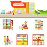 Esterno del negozio di alimentari ed insieme di compera della gente delle illustrazioni royalty illustrazione gratis
