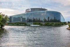 Esterno del Parlamento Europeo (edificio di Louise Weiss, 1999) nel distretto di Wacken di Strasburgo Fotografia Stock