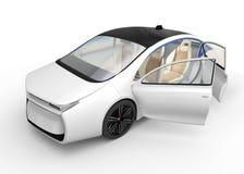 Esterno dell'automobile elettrica autonoma su fondo bianco illustrazione di stock