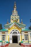 Esterno della cattedrale di ascensione a Almaty, il Kazakistan fotografie stock