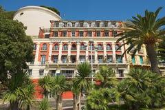 Esterno della costruzione storica dell'hotel Suisse in Nizza, Francia Immagini Stock