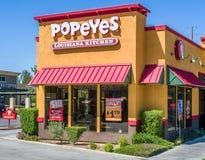 Esterno della cucina di Popeyes Luisiana Immagine Stock Libera da Diritti