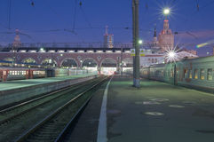 Esterno della stazione ferroviaria di Mosca Immagini Stock Libere da Diritti
