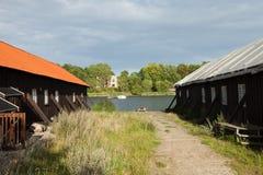 Esterno delle case a terrazze di legno a Copenhaghen fotografie stock libere da diritti
