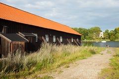 Esterno delle case a terrazze di legno a Copenhaghen fotografia stock libera da diritti