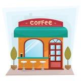 Esterno dello stabile adibito a uffici di caffetteria della via - illustrazione piana di vettore di stile Immagine Stock Libera da Diritti
