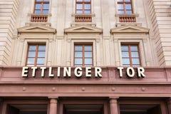 Esterno di Karlsruhe Ettlinger Tor Shopping Center Letters Closeup Fotografie Stock Libere da Diritti