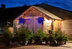 Esterno di un negozio dell'azienda agricola dell'albero di Natale Fotografia Stock