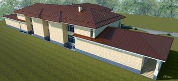 Esterno di una villa in una vista superiore di stile classico illustrazione 3D illustrazione di stock
