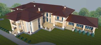 Esterno di una villa in una vista superiore di stile classico illustrazione 3D royalty illustrazione gratis