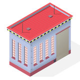 Esterno isometrico della costruzione del negozio dell'Assemblea Officina della casa dell'ingegnere industriale di vettore illustrazione vettoriale