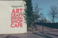Esterno moderno della galleria di millennio del ` s di Sheffield su una mattina di inverni Fotografia Stock