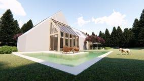 Esterno scandinavo moderno della casa illustrazione di stock