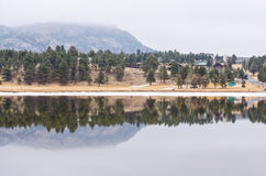 Estes lake view with hotel background Stock Photo