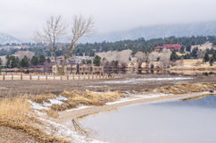 Estes lake view with hotel background. On snow time winter Stock Photography