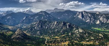 Estes Park Aerial Panorama. Scenic valley and snow-covered peaks under a blue sky with clouds in Estes Park, Colorado near the Rocky Mountain National Park stock images
