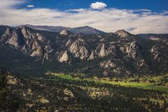 Estes Park Aerial. Scenic valley and snow-covered peaks under a blue sky with clouds in Estes Park, Colorado near the Rocky Mountain National Park. Aerial view stock photography