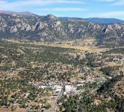 Estes Park in Colorado. Aerial view of the village of Estes Park minutes from the Rocky Mountain National Park entrance. Estes Park is known as the Gateway to royalty free stock photos