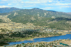 Estes Park, Colorado with Lake Estes on a Sunny Summer Day Royalty Free Stock Photo