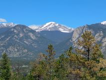 Estes Park Colorado snow capped mountains stock image