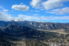 Estes Park, Colorado on a Sunny Day with Mountains in the Background stock image