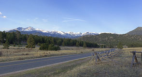 Estes Park, MacGregor Road. The view of Rocky Mountain National Park from MacGregor Road near Estes Park, Colorado royalty free stock image