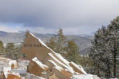 Free Estes Park Sign. States, Mountains. Stock Photo - 121348550