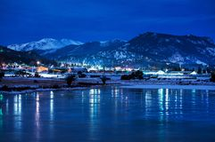 Estes Park Winter Night Stock Photos