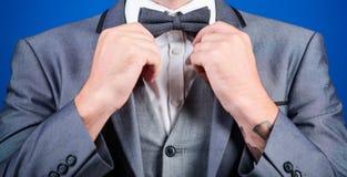 esteta art director alla moda cravatta a farfalla della correzione dell'uomo d'affari sposo di Bride dell'illusionista pronto per fotografie stock libere da diritti