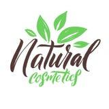 Estetiche naturali Logo Beauty Vector Lettering Calligrafia fatta a mano su ordinazione illustation di vettore Fotografie Stock Libere da Diritti