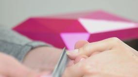 Estetista che fa manicure per il cliente stock footage