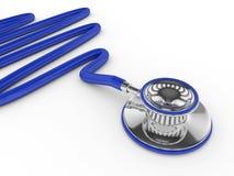estetoscópio azul rendido 3d isolado sobre o branco ilustração stock