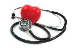 Estetoscópio com coração vermelho Foto de Stock