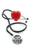 Estetoscópio com coração vermelho fotografia de stock royalty free