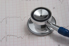 Estetoscópio com electrocardiograma Imagens de Stock