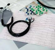 Estetoscópio, comprimidos e ECG Fotografia de Stock