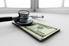 estetoscópio 3d, dinheiro e medicina Fotografia de Stock Royalty Free