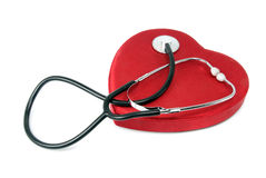 Estetoscópio e coração Fotos de Stock Royalty Free