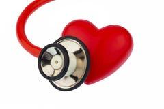 Estetoscópio e coração Fotos de Stock