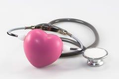 Estetoscópio e coração Fotografia de Stock