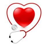 Estetoscópio e coração Imagem de Stock